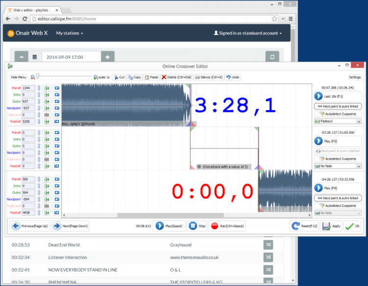 OnAir WebX Internet Voicetrack Editor
