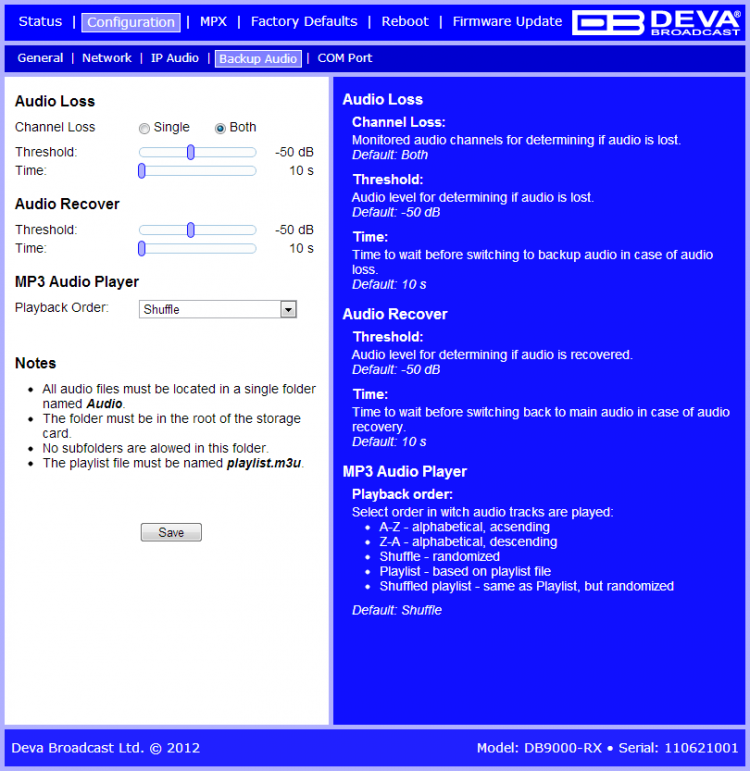 Deva Broadcast DB9000 RX | Audio over IP Audio Decoder
