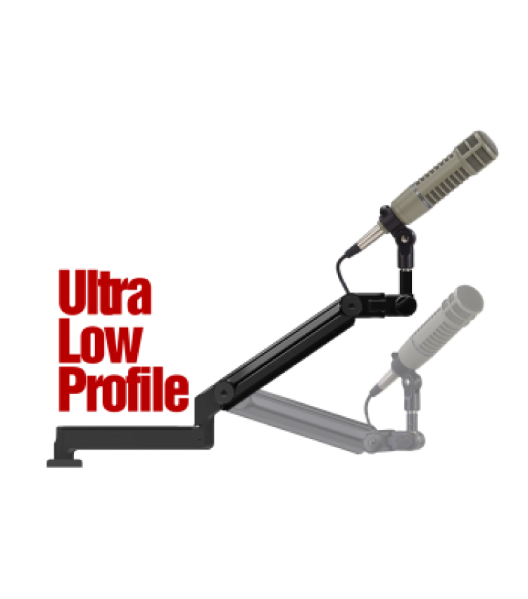 "OC White ProBoom® Ultima™ LP Adjustable Mic Boom with (1) 12"" fixed horizontal arm & Machined Table Bushing"