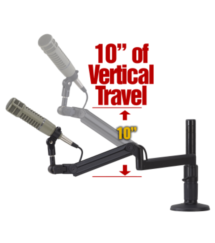 "OC White ProBoom® Ultima™ LP Adjustable Mic Boom with (1) 12"" fixed horizontal arm & Vertical Modular Clamp/Bolt Through Riser"