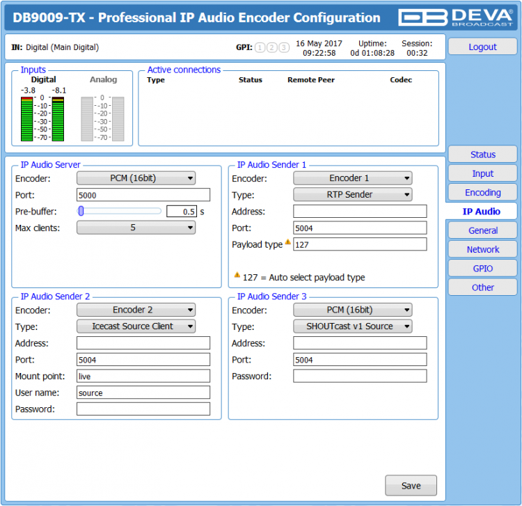 DEVA Broadcast DB9009-TX Multi Protocol Audio over IP Encoder