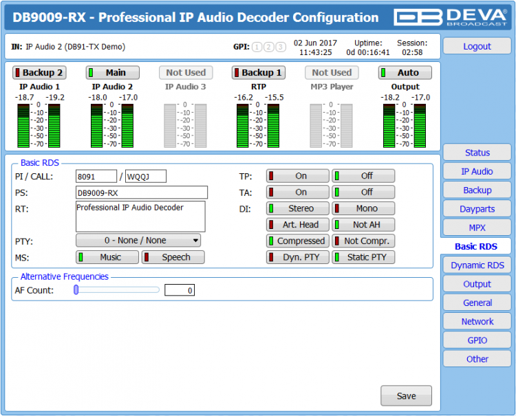DEVA Broadcast DB9009-RX Multi Protocol Audio over IP Decoder